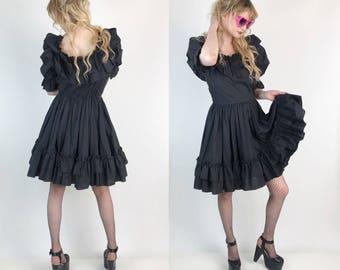 Vintage Black Ruffle Dress Small 6 - Ruffle Gothic Lolita Circle Skirt Dress - Romantic Girly Goth Puff Sleeve Solid BLACK Minidress