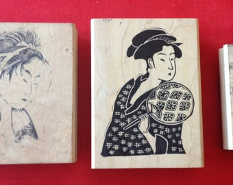 Japanese Lady portrait rubber stamps - 3 medium wood mounted stamps, Geisha rubber stamps