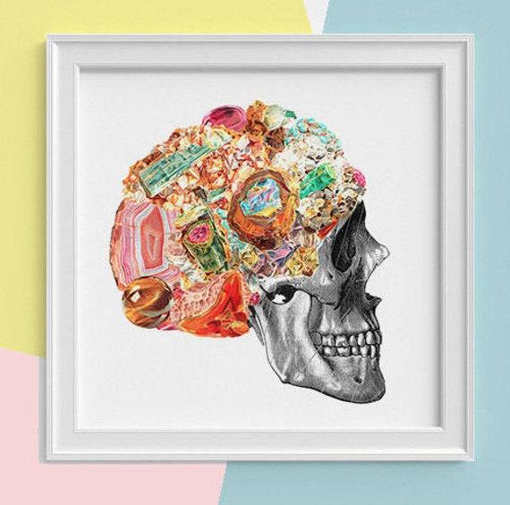 Skull with minerals Print, wall art, Human anatomy print Science student gift Human skull art print, skull prints SKA119SQ1