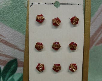 Antique Glass Diminutive Button Set on Card Pentagon Shape Brown with Gold Trim
