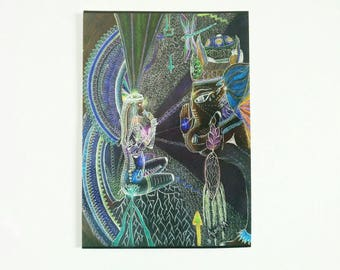 Visionary Art Card Artwork. Rapé Shamanic Snuff Art, Vision Art, Ayahuasca Art, Postcard