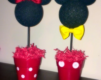 Mickey and Minnie inspired centerpiece, minnie and mickey inspired party decoration,disney inspired party decorations