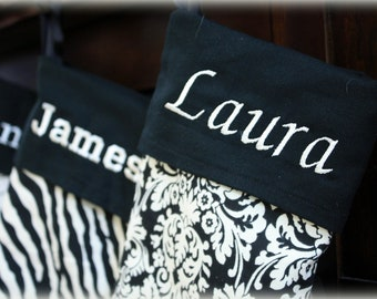 Black and White Personalized Christmas Stockings- 21 inch