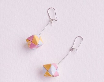 Pink, blue and yellow origami cube earrings