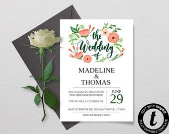 Floral Wedding Invitation Template, Printable Wedding Invitation Set, Instant Download DIY Printable Invitations, Editable Invitations