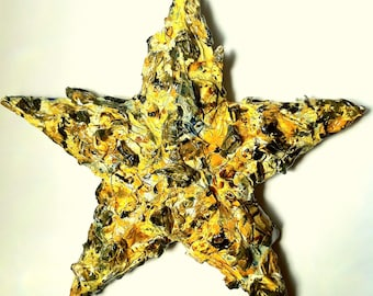 handmade original wood and plaster Texas star,painted wall art, wall collage, southwest, Indian Summer, burnt yellow, Longhorn