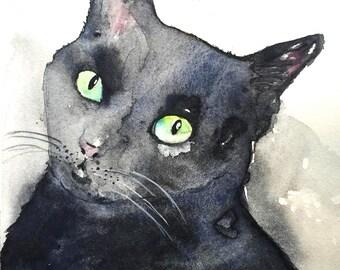 Black Cat - Watercolor Print, Watercolor illustration, Watercolour, Cat Watercolor, Black Cat Art, Black Cat Painting, Animal Illustration