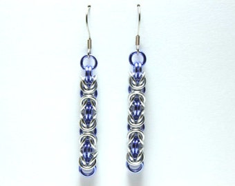 Byzantine Chainmaille Earrings | Hand Crafted Chainmaille Jewelry | Handmade Earrings | Violet and Silver | Anodized Aluminum