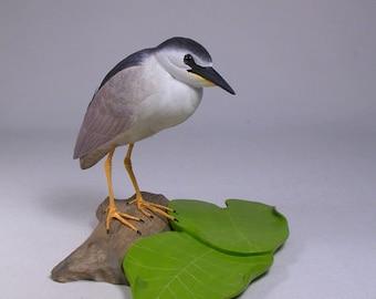 "5-5/8"" Night Heron Hand Carved Wooden Water Bird"