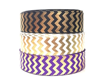 1.5 inches Gold Chevron Ribbon by the Yard, Metallic Ribbon, Chevron Grosgrain Ribbon, Craft Ribbon, Craft Supplies, Hair Bow Supply