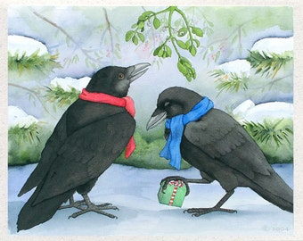 Ravens (Under the Mistletoe) Christmas Card