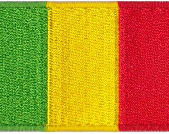 Small Mali Flag Iron On Patch 2.5 x 1.5 inch Free Shipping