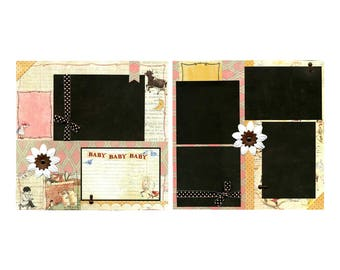 Baby Baby Baby -  2 Coordinating Premade Scrapbook Pages