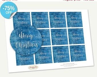"75% OFF SALE Printable Favor Tags ""Merry Christmas"", Printable Christmas Tag, Cupcake Toppers, Winter Supplies, Stickers, Christmas Cards"