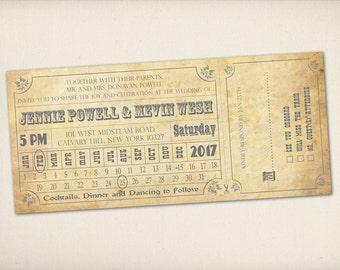 Wedding Invitation, Train Ticket Invitation, Modern Vintage Rustic, Old Fashioned Train Ticket, Vintage Train Ticket Invitation (WITT1)