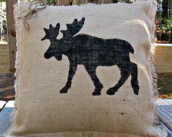 Moose Burlap Pillow, Rustic Decor, Adirondack Throw Pillow, Moose Decor, Woodland Pillow