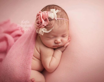 Dusty pink baby headband ,Antique pink headband,Newborn pink headband