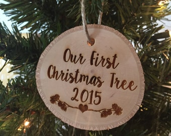 Our First Christmas Tree Ornament, Tree Slice Christmas Ornament, Wedding Christmas Ornament, Rustic Wedding, Rustic Christmas, Tree Slice