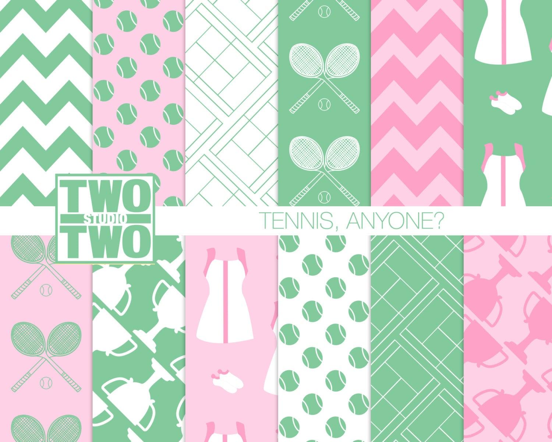 Tennis Digital Paper: TENNIS ANYONE Pink and