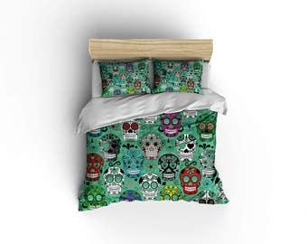 Sugar Skull Duvet Covers, Home Decor, Bedding, Comforter Covers, Bedroom  Decor,