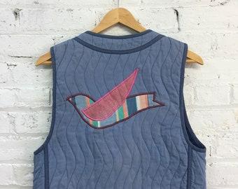 Vintage Jeanne Marc gilet / gilet bleu patchwork matelassé coupe / gilet broderie d'oiseau / hippie veste boho Gilet court gilet