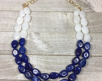 Navy Blue And White Beaded Necklace - Statement Necklace Blue Nautical Chambray - Chunky Bold Bib Necklace - Holiday Bridesmaid Jewelry