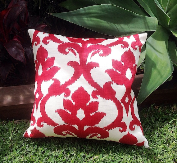 Red U0026 White Outdoor Cushions, Ikat Outdoor Pillows Red Outdoor Decorative  Scatter Cushions Modern Retro Pillows