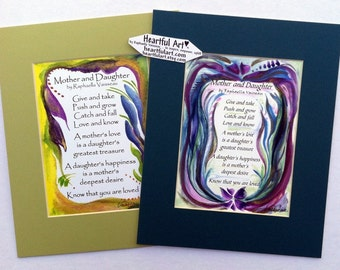 MOTHER DAUGHTER 8x10 Original Poem Inspirational Quote Family Print Mom Mothers Day Girl Baby Shower Gift Heartful Art by Raphaella Vaisseau