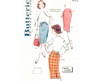 50s Pencil Skirt Pattern | Butterick 9188 One Yard Pencil Skirt Pattern | 50s Sewing Pattern