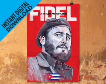 Poster Fidel Castro 'La Historia Me Absolverá' ('History Will Absolve Me') High Quality Image For Instant Digital Download