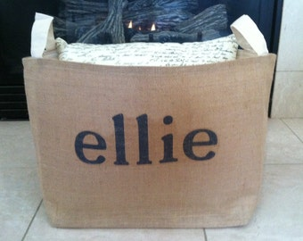 large lined personalized burlap storage basket , burlap storage tote