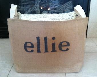 large lined personalized burlap storage basket , burlap storage tote