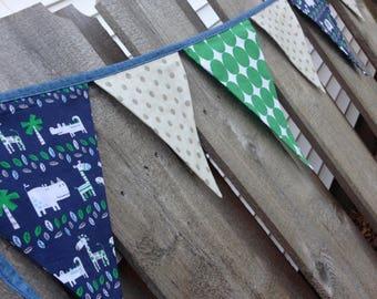 FABRIC NURSERY BUNTING--Jungle Animals Banner--Elephant Giraffe Crocodile Snake Snail--Little Boy-- Baby Boy Banner--Blue Gray White--Flags