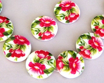 8 pink flowered shell beads, coin shape, 20mm pink floral round beads, Spring flowered round