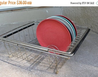 SALE SALE SALE Vintage Chrome Metal Dish Drying Rack Storage Organization Display Mid Century Retro Tray Kitchen