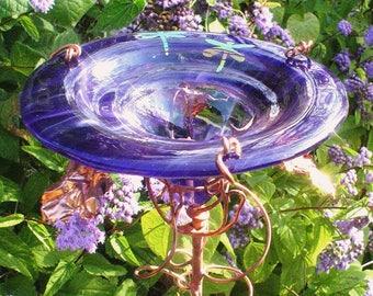 Violet BUTTERFLY FEEDER, stained glass, DRAGONFLIES, copper, Garden Art, housewarming gift, Garden decor