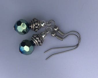 Black Rainbow with Silver Tone Accents on  French style surgical steel hooks - everything dark goes with these