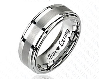 Personalized Rings, Engraved Ring, Two Tone Step Edge Tungsten Ring, Personalized Tungsten Ring, Custom Promise Ring, Engraved Wedding Bands