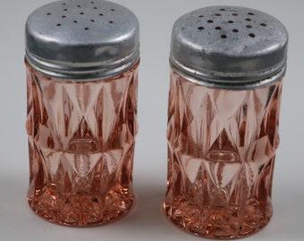 Pair of Jeanette, Windsor aka Windsor Diamond, Pink Salt and Pepper Shakers
