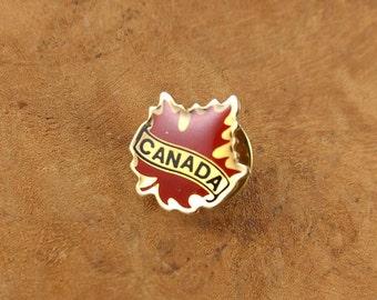 Retro Canada Pin - Maple Leaf - Red - Gold