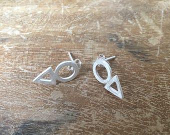 Sterling silver stud earrings, minimalist, boho