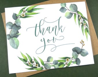 Set of 8, THANK YOU CARDS, Thank You Cards Set, Thank You Notes, Wedding Thank You Cards, Thank You Card Set, Greenery Wedding