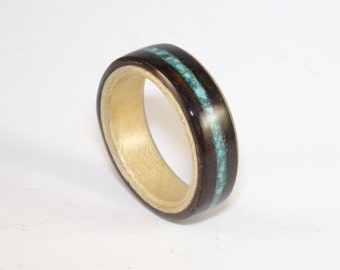 Bent Wood Ring - Macassar Ebony lined with Sycamore and a Crushed Turquoise Inlay Band, Handmade to Any UK or US Size