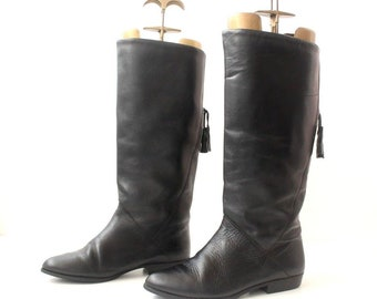 Women's Vintage Flat Knee High Pull On Slouch Tassel Riding Black Real Leather Boots Size UK3 EU36