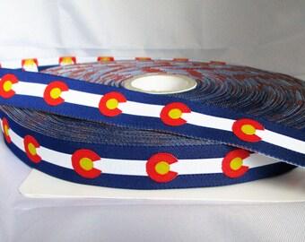 "Colorado Flag Ribbon - 7/8"" Jacquard Ribbon"
