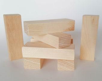 Wooden Construction Blocks - Small Rectangular Hickory kids Building  Blocks, Kids Waldorf Toy, Natural Wooden Play Blocks - Set of 8 Blocks