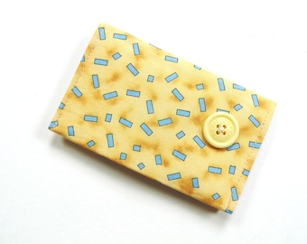 Business card holder, yellow blue cotton fabric card holder, credit card case, magnetic snap closure, 2 pockets