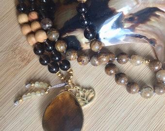 Gold Leaf Jasper & Smoky Quartz Mala Neckalce Meditation Beads Yoga Jewelry 108 prayer beads