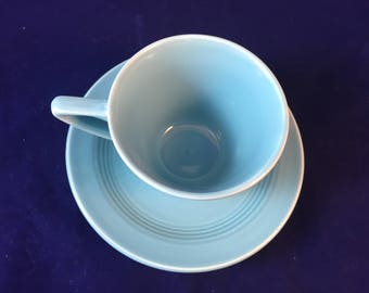 Homer Laughlin Harlequin Turquoise Cup an Saucer Art Deco