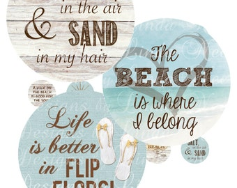 Seaside ~ FLIP FLOP Beach Girl - Life is better in flip flops (1 inch rounds) Bottlecap Images Digital Collage Sheet  printable